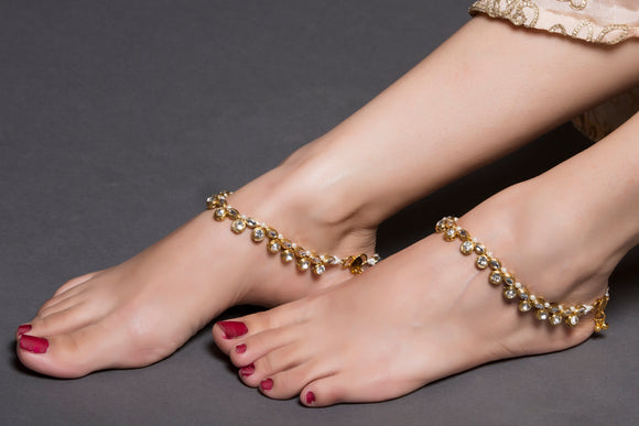 Kundan And Pearl Anklet