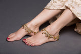 Golden American Diamond And Ghungroo Anklet