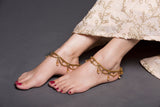 Multi Layered Gold Chain Anklet With Coffee Pearl