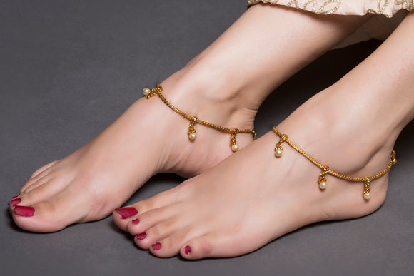 Gold Chain Anklet with Peark Drop