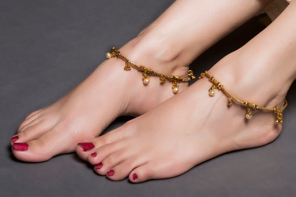 Gold And Pearl Drops Anklet