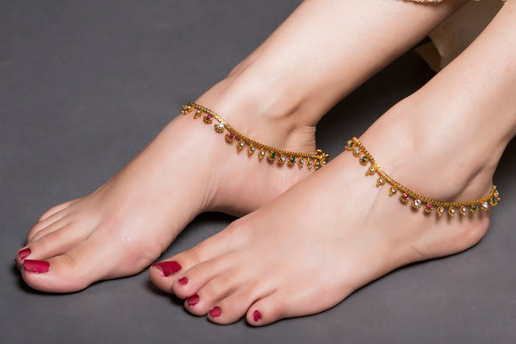 Gold Anklet With Multi-Colored Drops