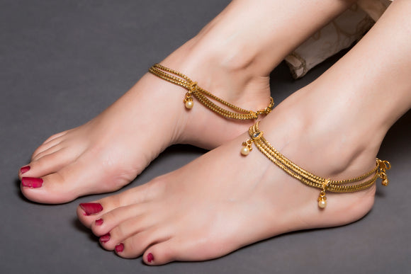Multi Layered Gold Anklet With Pearl Droplet