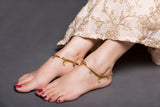 Gold Chain Anklet With Kundan Drop