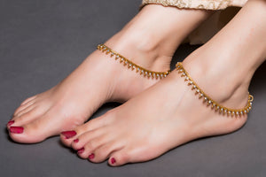 Gold Anklet With Drop