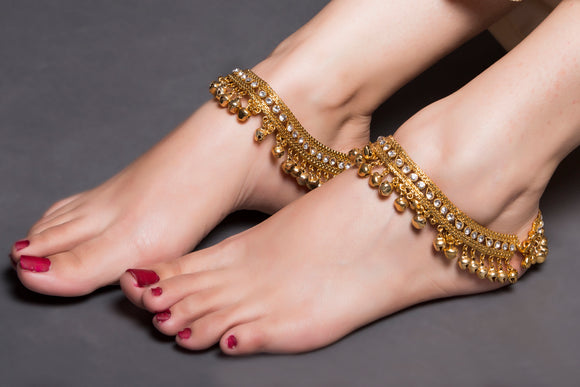 Vintage Gold Multi Layered Anklet With Ghungroos