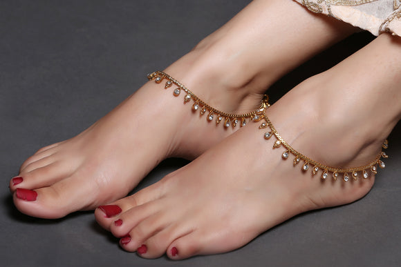 Gold Anklet With Drops