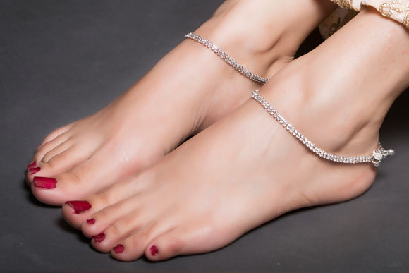 American Diamond Anklet With Silver Base