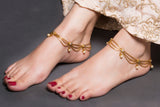 Triple Gold Chain Anklet With Drops