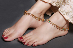 Gold Anklet With Red and Green Drops