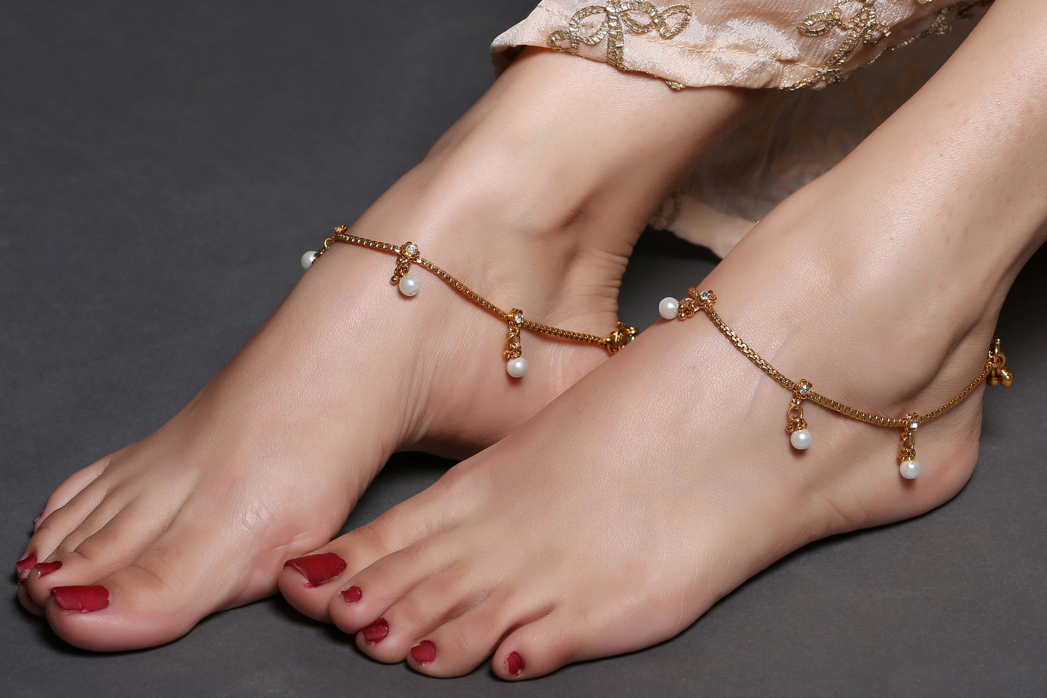 gold anklet anklets fine solid two italian new tone bracelet chain pin