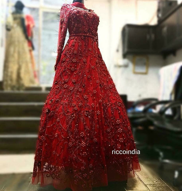 Intricate bead work red gown