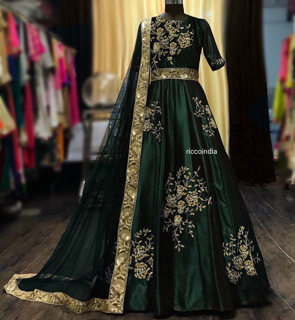 Green raw silk belt Anarkali gown