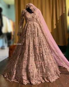 Blush pink beaded pearl work gown