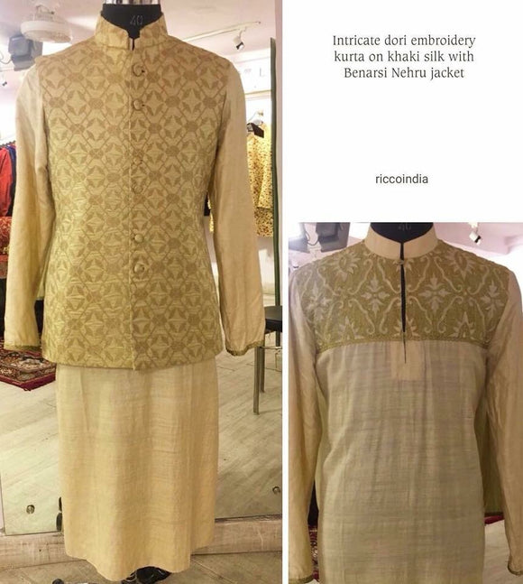 Dori work kurta with brocade waist coat