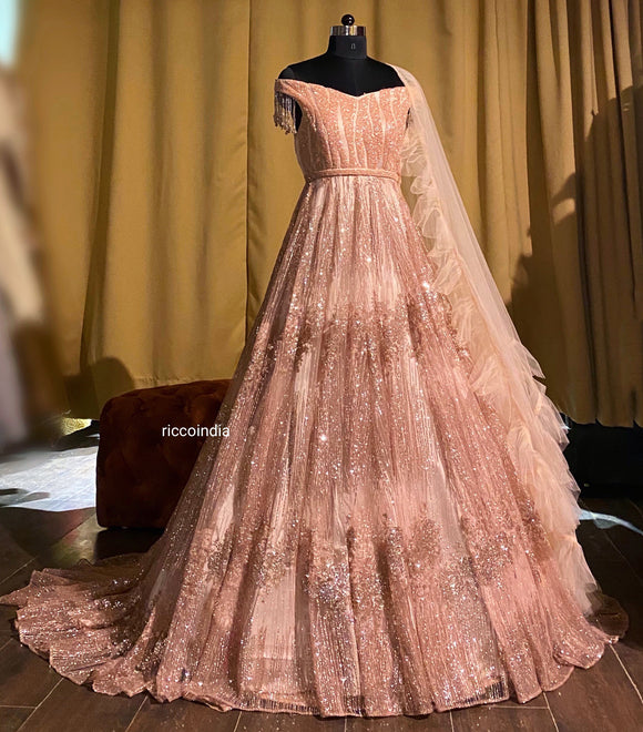 Rose gold train gown with drill dupatta