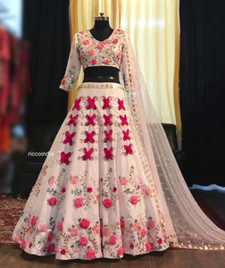 White Lehenga with neon pink handmade flowers