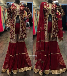 Maroon front open sharara with fringe detail dupatta
