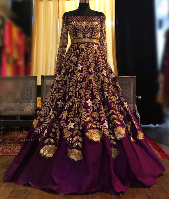Purple layered cocktail gown