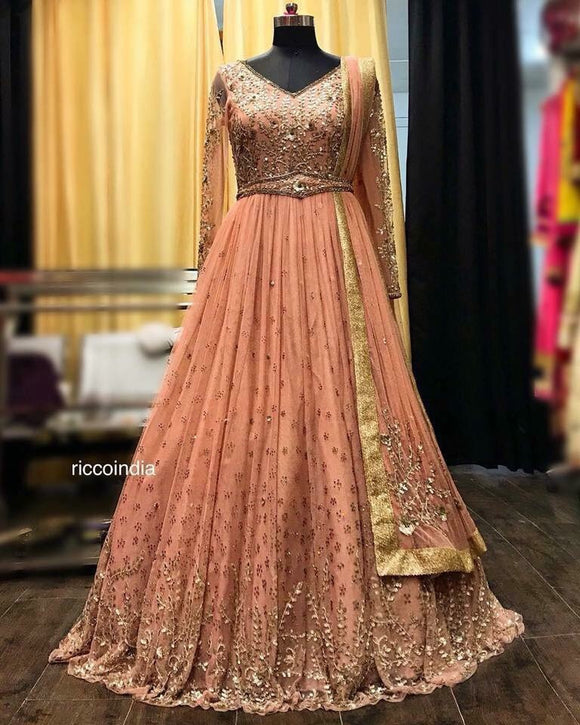 Peach bridal Anarkali with belt