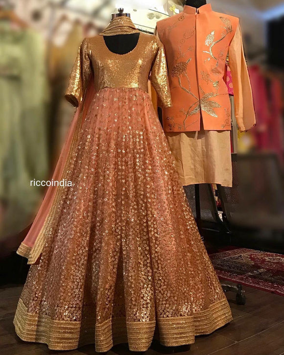 Anarkali gown and waistcoat co-ord set