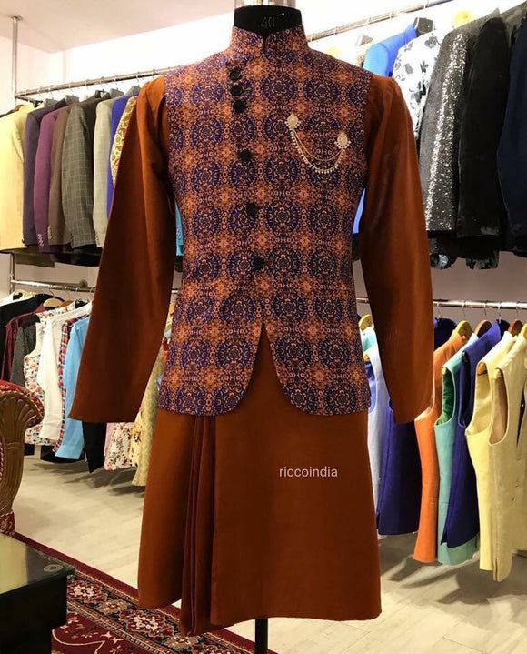 Brown draped kurta with angrakha waistcoat