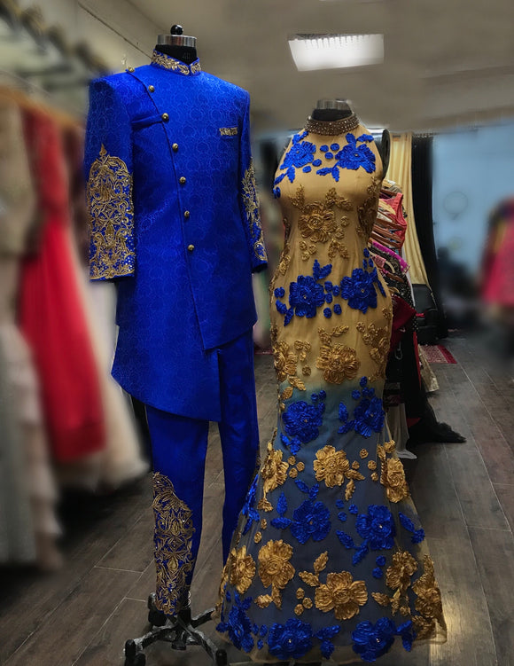Indowestern bride and groom outfit