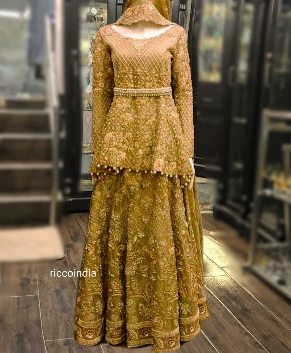 Gold intricate work sharara with high low heavy kurta