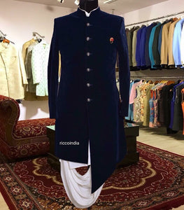 Blue indowestern sherwani with cowl drape kurta