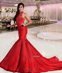 Red mermaid gown