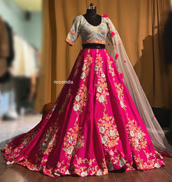 Pink train lehenga with floral resham embroidery