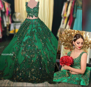 Green couture croptop skirt