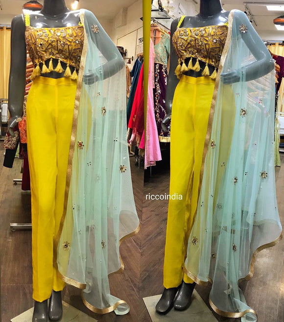 Mirrorwork croptop pants and dupatta