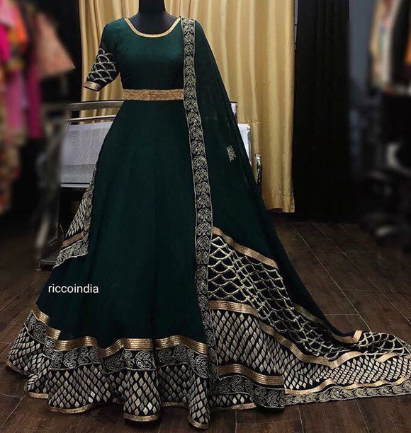 Bottle green gota work Anarkali gown