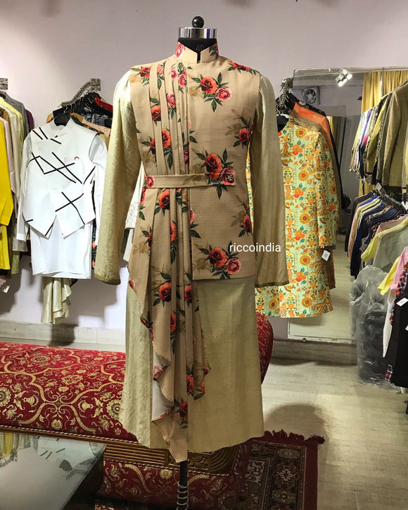 Floral draped waist coat with kurta pyjama