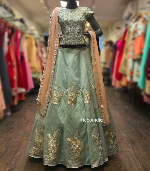 Mint blue long choli Lehenga with peach dupatta