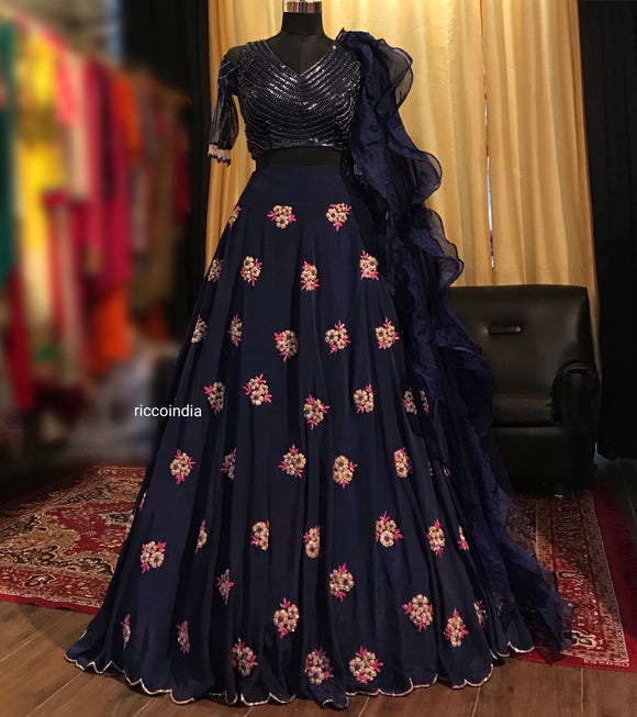 Navy blue crepe Lehenga with beadwork floral embroidery and beaded blouse
