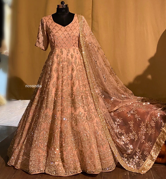 Peach Anarkali gown with Swarovski embroidery