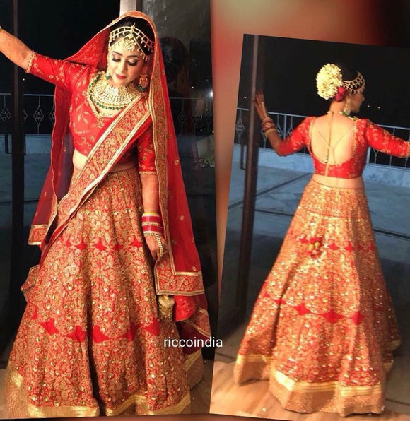 Red sequin and bead work bridal Lehenga with two dupattas