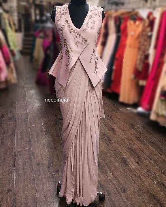 Rose pink saree gown with peplum jacket