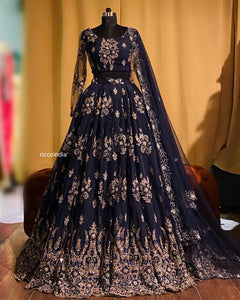 Navy blue flared lehenga with beadwork