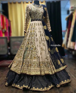 Beige and blue heavy embroidery Anarkali gown