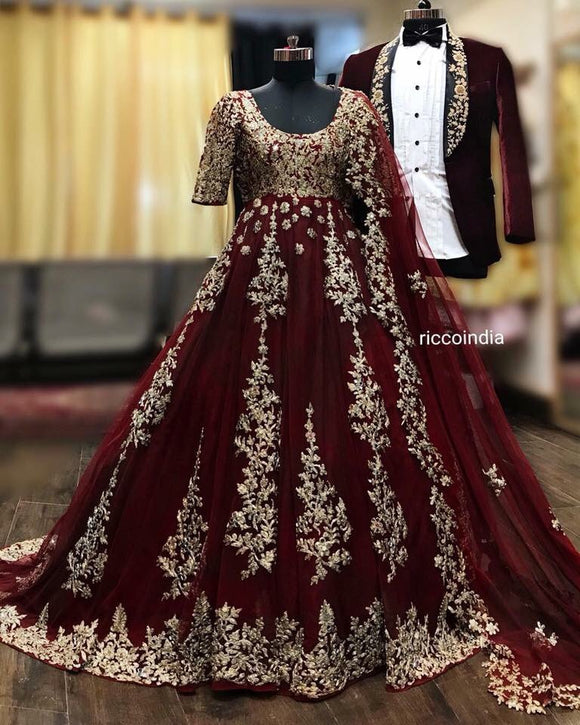 Bride and groom outfit