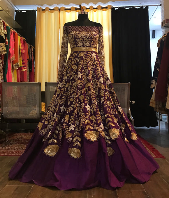 Purple off shoulder layered cocktail gown