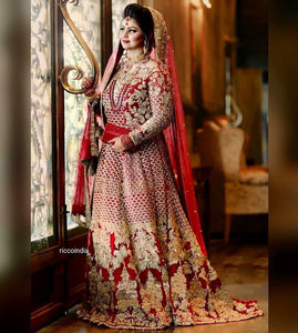 Bridal gown with heavy embroidery