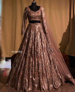 Copper sequins work lehenga with feather detail