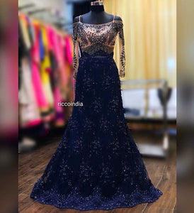 Blue mermaid cocktail gown with crystal beading