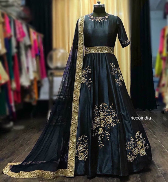 Raw silk Anarkali with belt