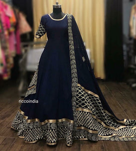 Blue Anarkali with statement dupatta