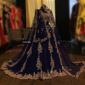 Blue bridal Lehenga with double dupatta with cut work